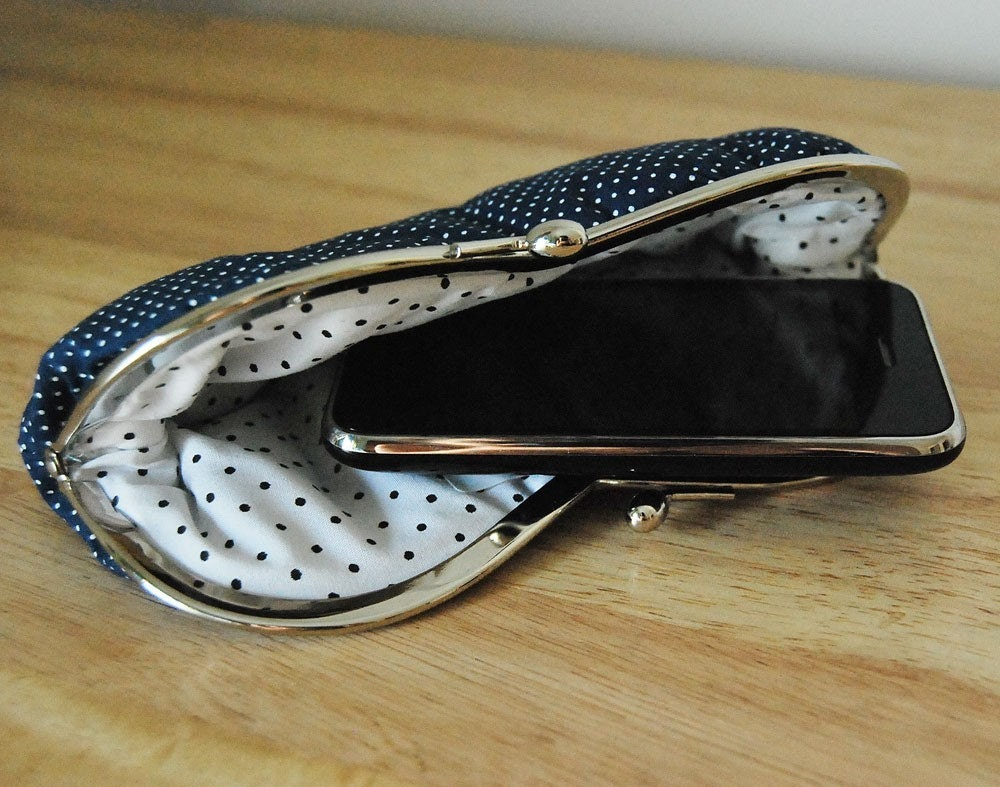 Les Bulles clutch . white dots in dark blue background eyeglass case