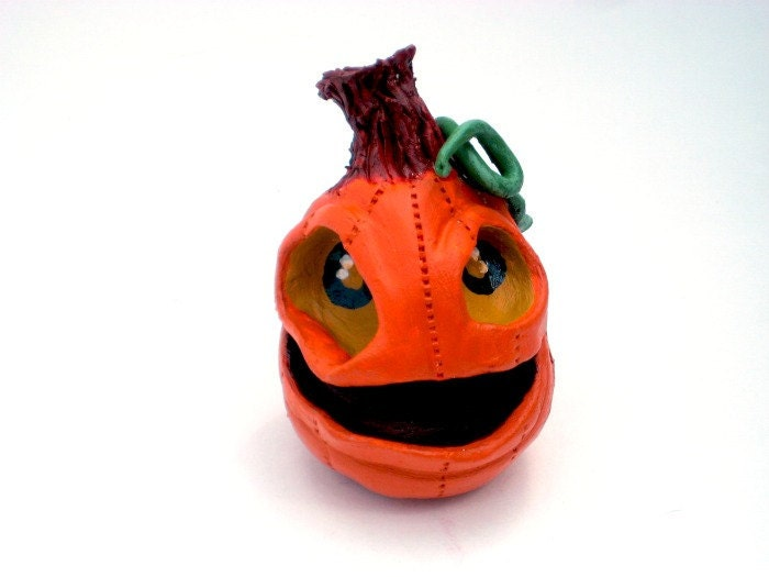 Pumpkin Jack O Lantern - Halloween Decorative Sculpture - Clay - Ceramic - OOAK