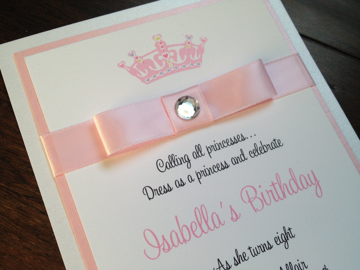 Crown Invitation, Princess Party, Birthday Party, Pink and White, Bow, Jewel Embellishment - Crown
