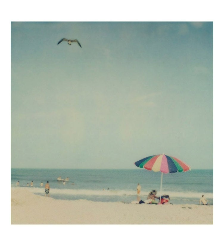 Beach photograph - Sunshiny day - Fine art polaroid photo in retro colors - Umbrella, picnic, summer vacation