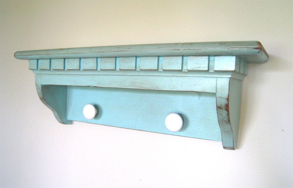 Cyan Aqua Shelf with Knobs - antique finish - 20 Inches