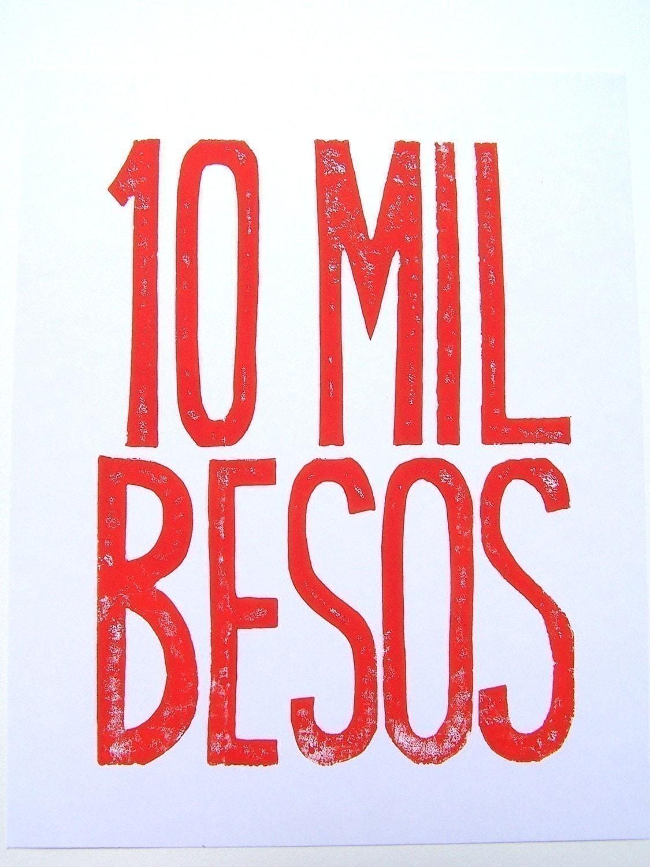 PRINT - 10 mil besos RED ORANGE BLOCK PRINT 8X10