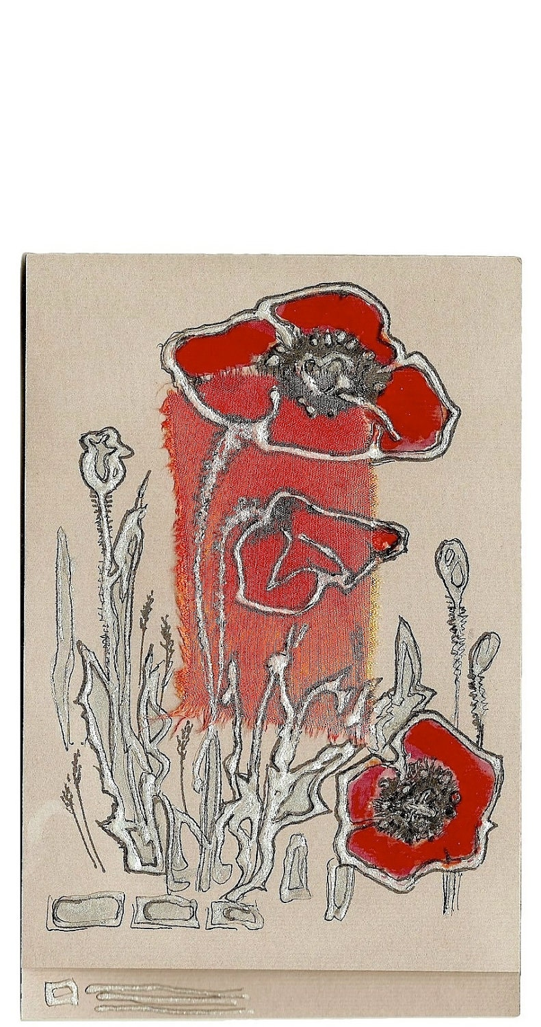 Coral red poppy - blank greeting card for any event