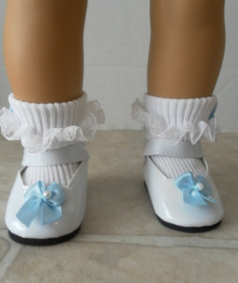 Doll Shoes and Socks White Mary Jane Patent by