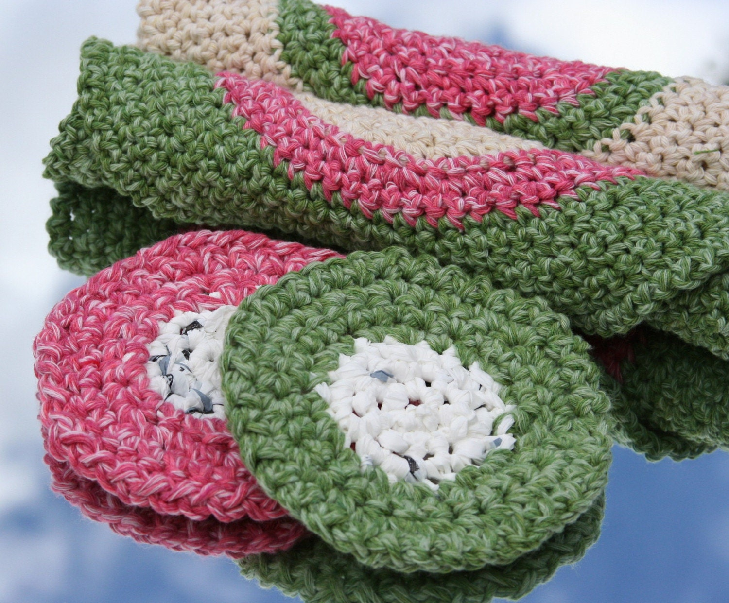 Recycled Materials  Kitchen Cloths & Scrubbers by OlliesBoutique from etsy.com