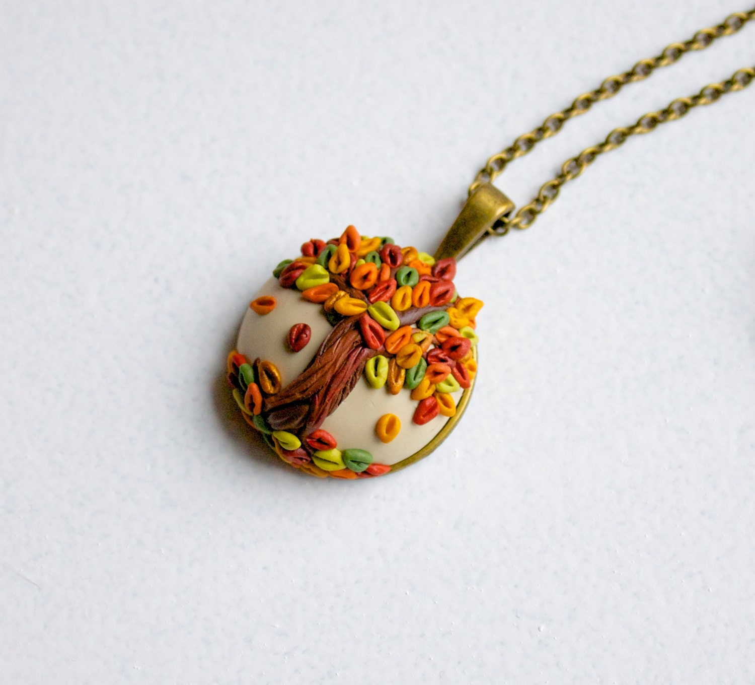 Fall tree pendant - polymer clay tree necklace - colorful autumn leaves - TheCraftyBeeOnline