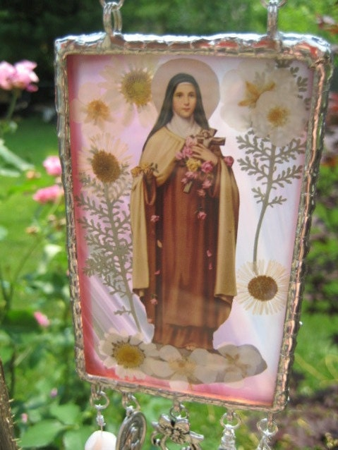 My Devotional to Saint Theresa Little Flower Stained Glass Sun Catcher