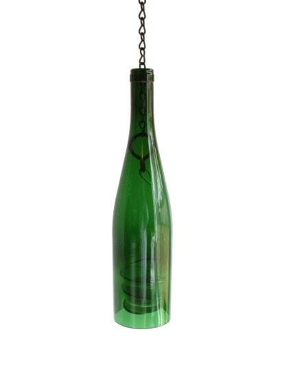 Teal Glass Wine Bottle Candle Holder Hanging Lantern By