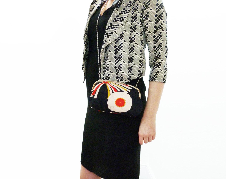 Handbag floral print starburst black red cream and yellow vintage Japanese kimono fabric