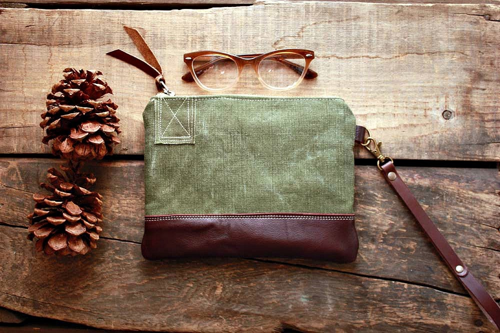 Canvas pouch wristlet in Upcycled Army canvas and leather trim Unisex --READY TO SHIP-- - cindymars7