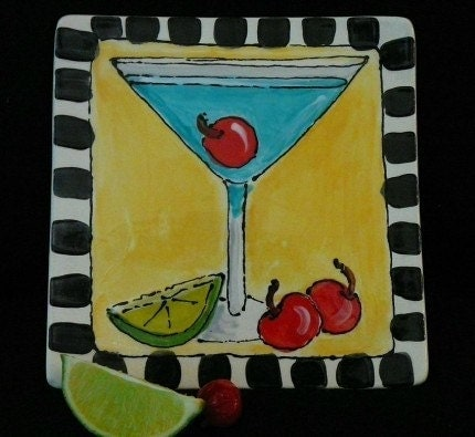 HAND PAINTED MARTINI CAKE PLATE FOR A GIRLS NIGHT OUT 6.5 inch square