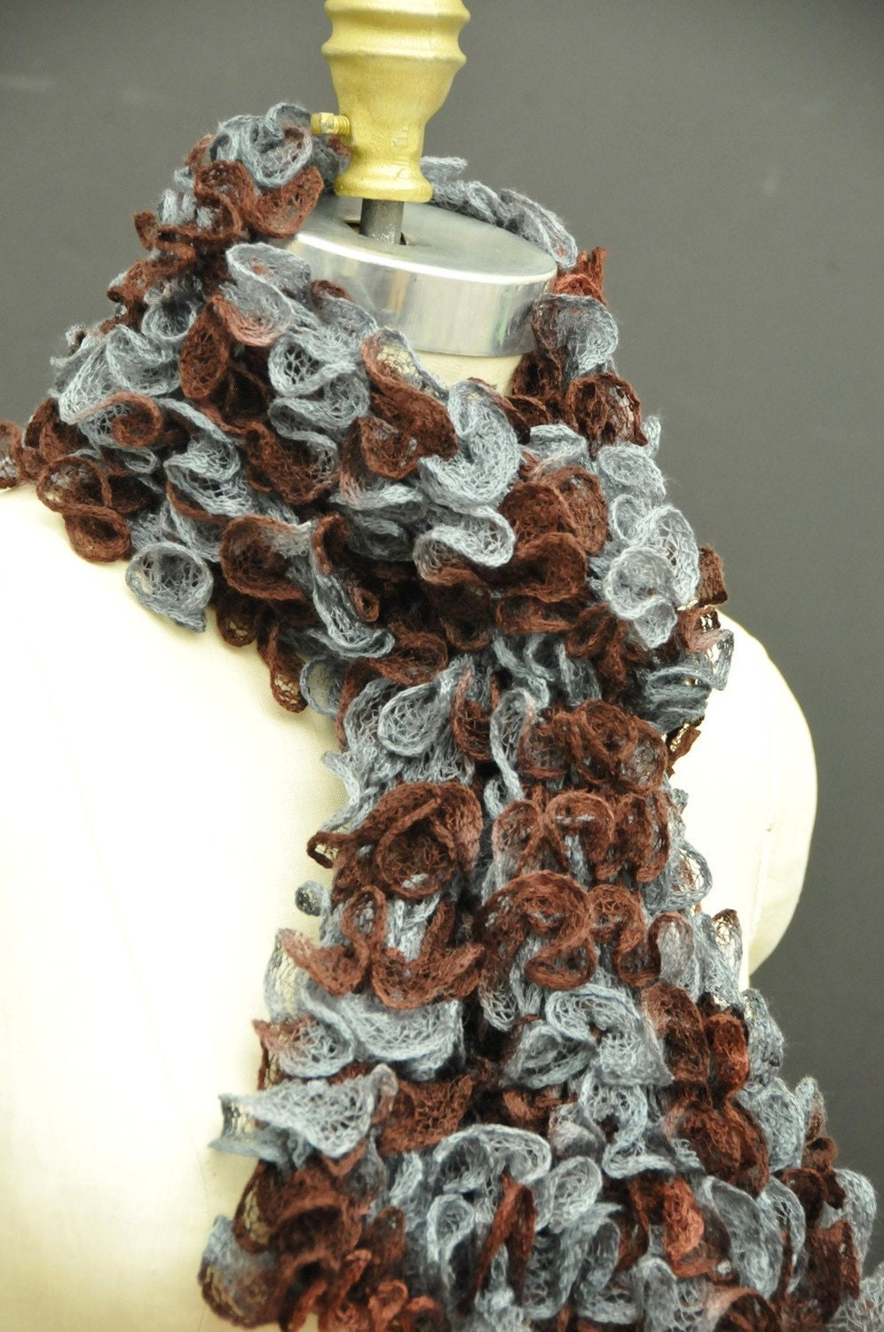 Sale hand knit scarf ruffle scarf blue mocha color blend Hand Knit Scarf For Sale