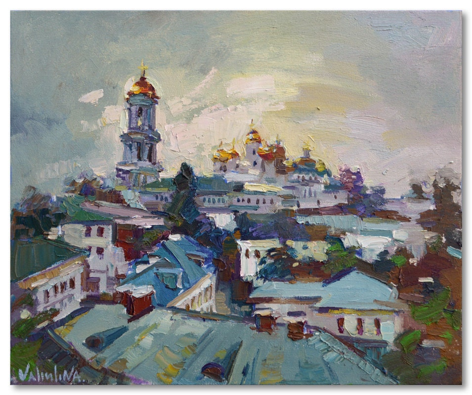 "Original oil painting Kiev Pechersk Lavra in Ukraine, landscape painting 23.6"" x 19.7"" cityscape, ready to hang, fine art by Valiulina - ValArtGallery"
