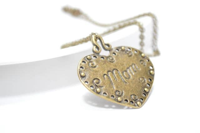 Mothers Day Gift, Mom Heart Charm Pendant Necklace, Antiqued Brasss Big Statement Bold Jewelry Gift For Her - CCARIA