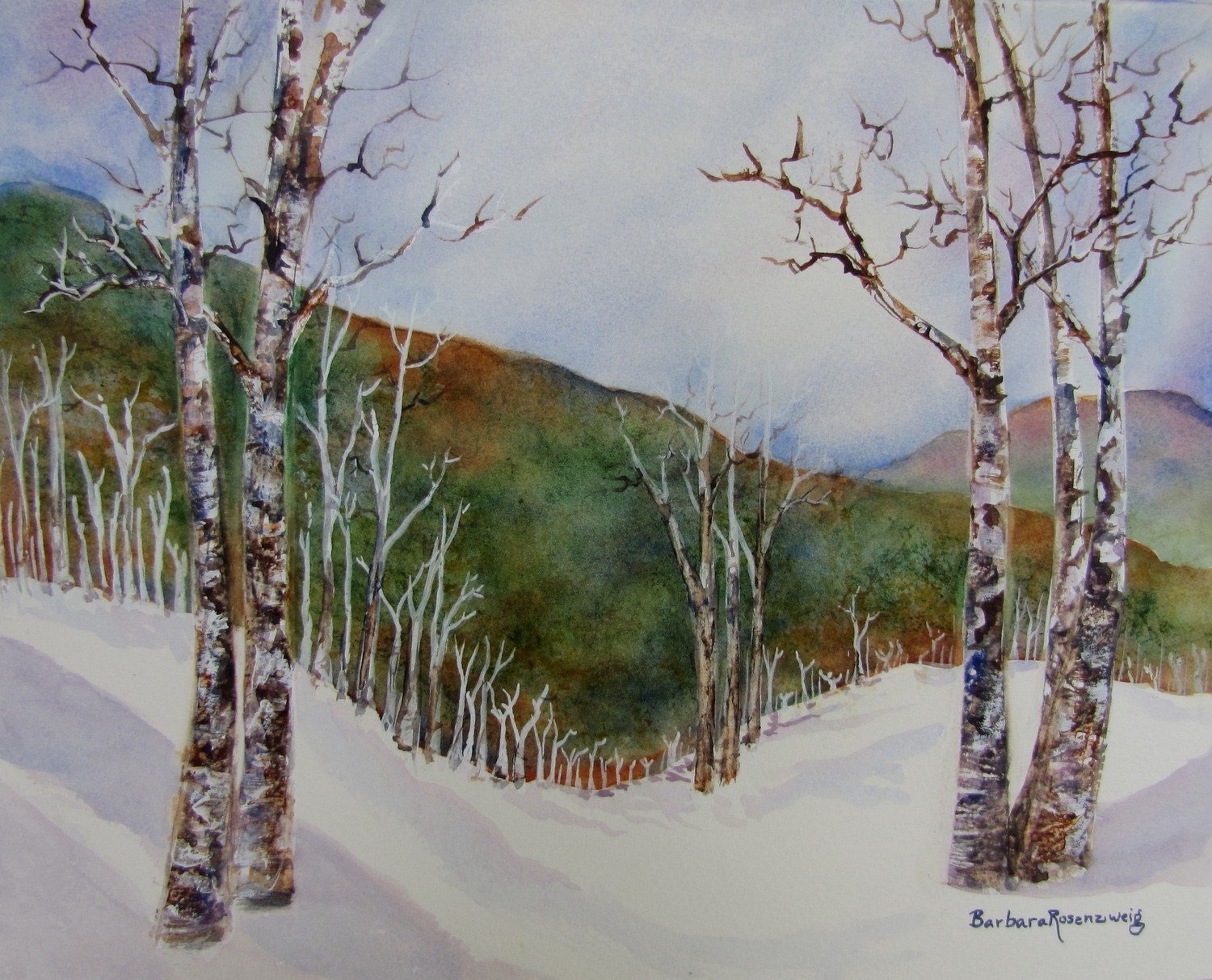 Original Birch Trees in Snow of Winter Landscape Art: Watercolor Painting 11x14