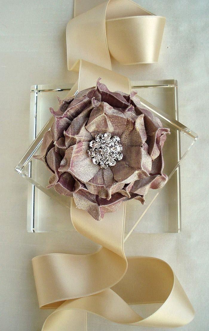 Purple Champagne Rapture Rose Silk Dupioni Brooch plus Sash