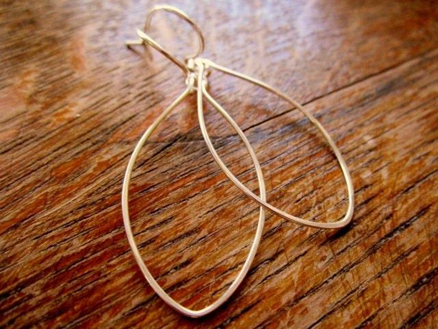 EASTER SALE Silver Hoop Earrings Leaf Oval Sterling Silver Handmade Hoop Earrings Minimalist Jewelry Simple Delicate Hoops Dangle Earrings