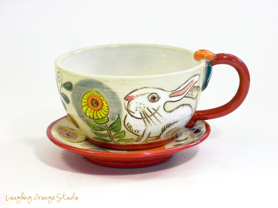 Blooms and Bunnies Cappuccino Cup and Saucer - laughingorangestudio