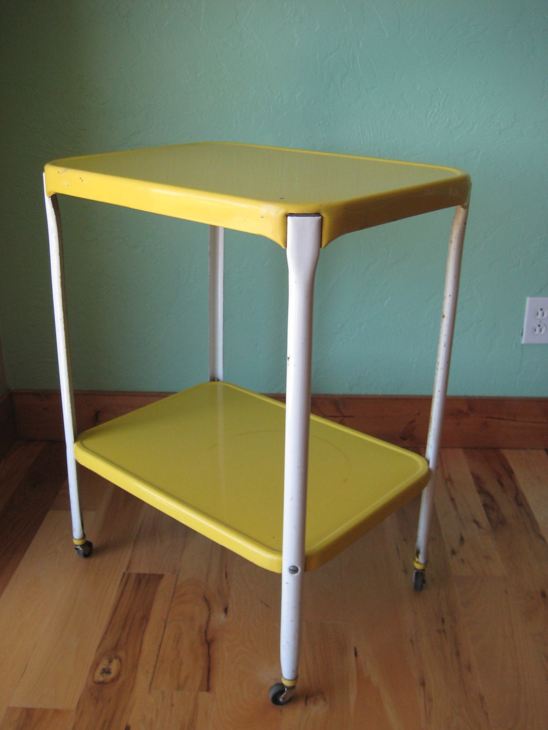 vintage bright yellow and white metal rolling kitchen cart