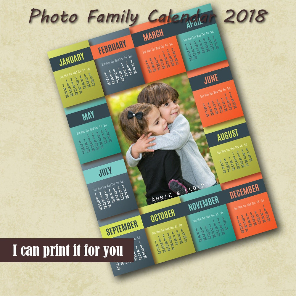 2018 Monthly Photo Calendar PSD Template 4x6 Instant