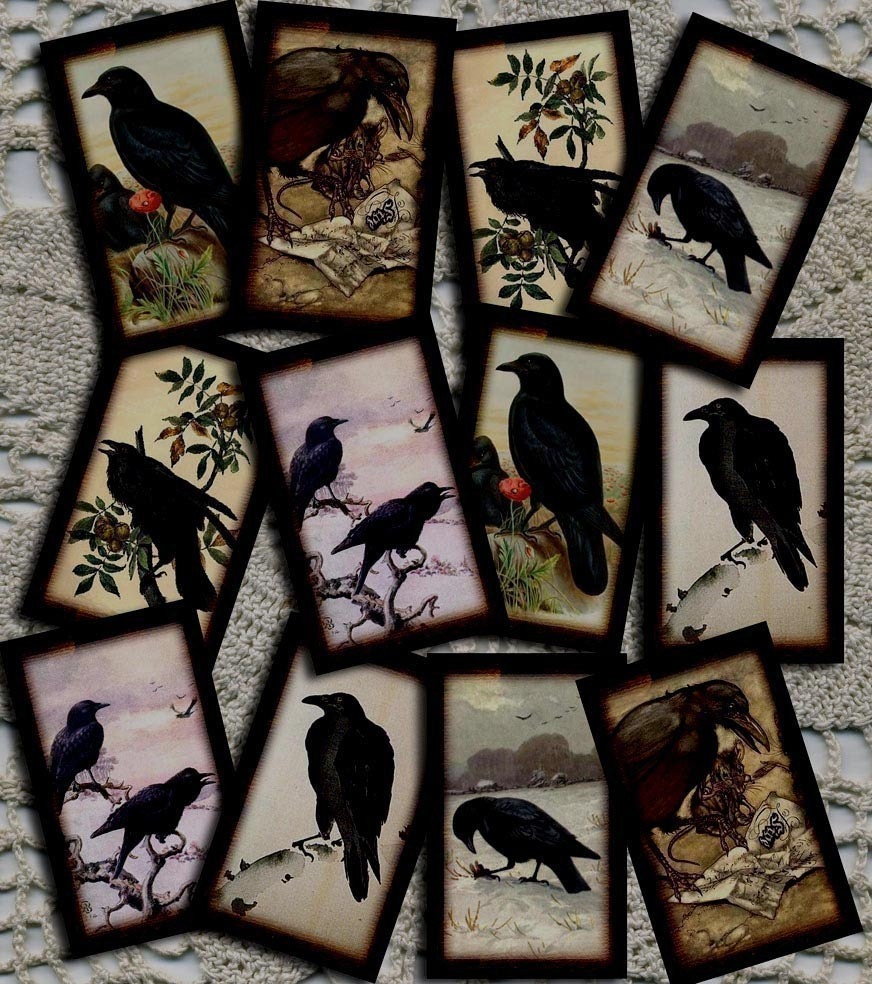 Set of 24 pRiMiTiVe CROW/RAVEN Vintage Art Hang/Gift Tags