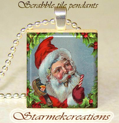 Scrabble tile pendant  Santa Claus Sale  Buy 3 by starmekcreations from etsy.com