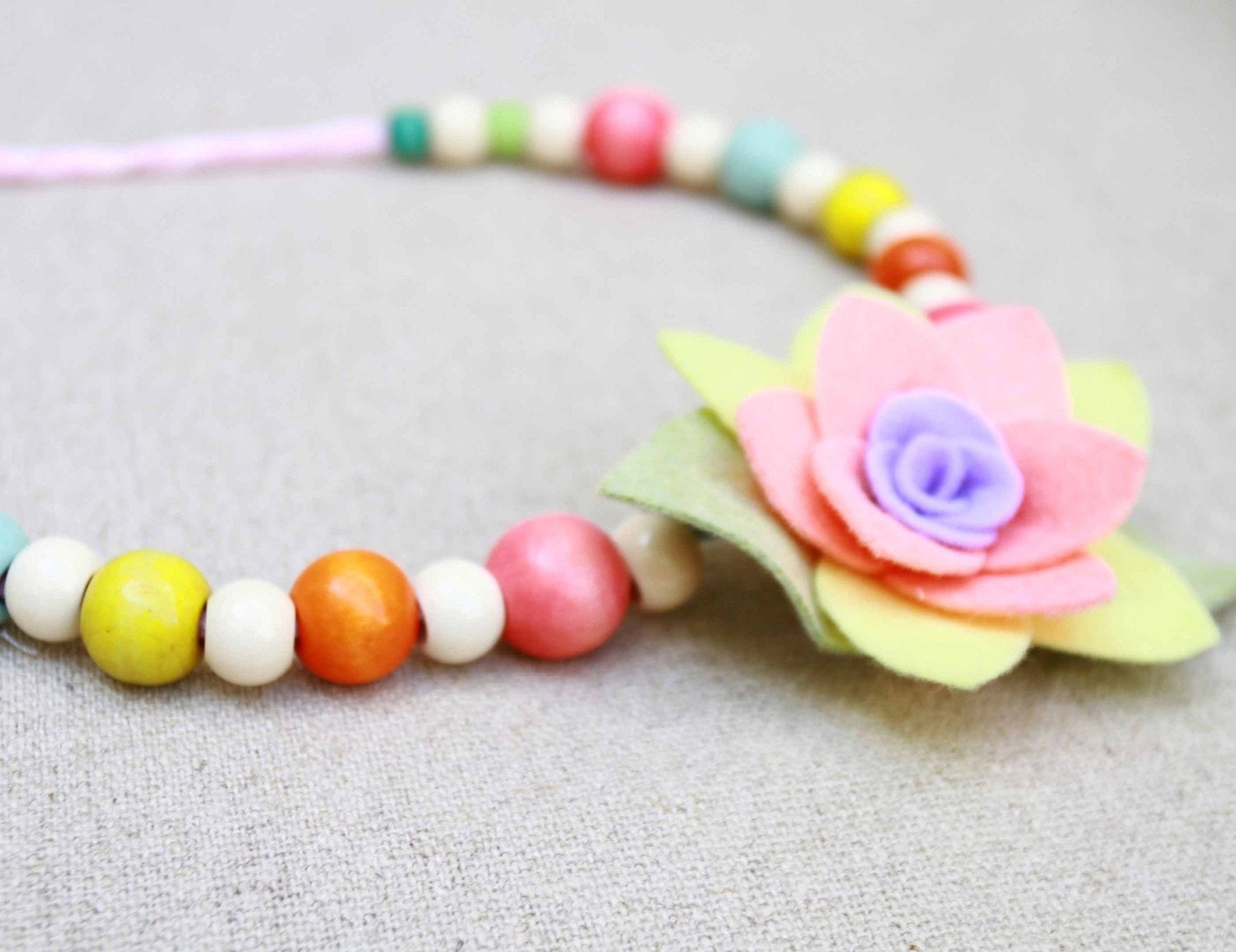 girls wooden bead and felt flower necklace