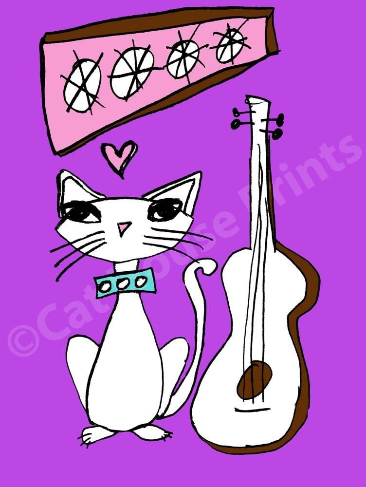 Purple Guitar Cat - 8.5 x 11 print