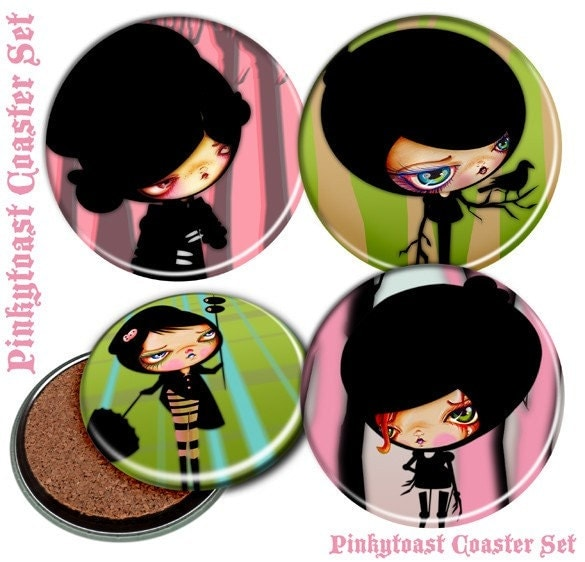 Etsy :: Mod Girl Coasters-4 Pinkytoast Ink-Blot Baby Coster Set