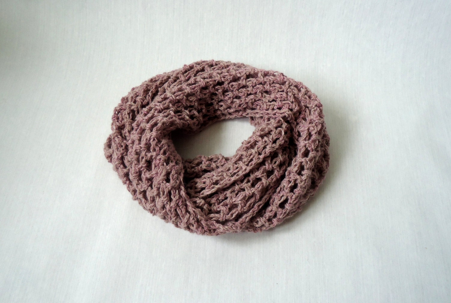 Crochet infinity scarf | chunky infinity scarf | fall festival scarf/ pink melange scarf - NotOnly