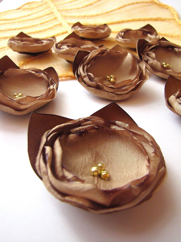 Новый стиль-ткань ручной работы цветок аппликации / украшения (6 шт) - ЗОЛОТОЙ ANTIQUE роз с Листья