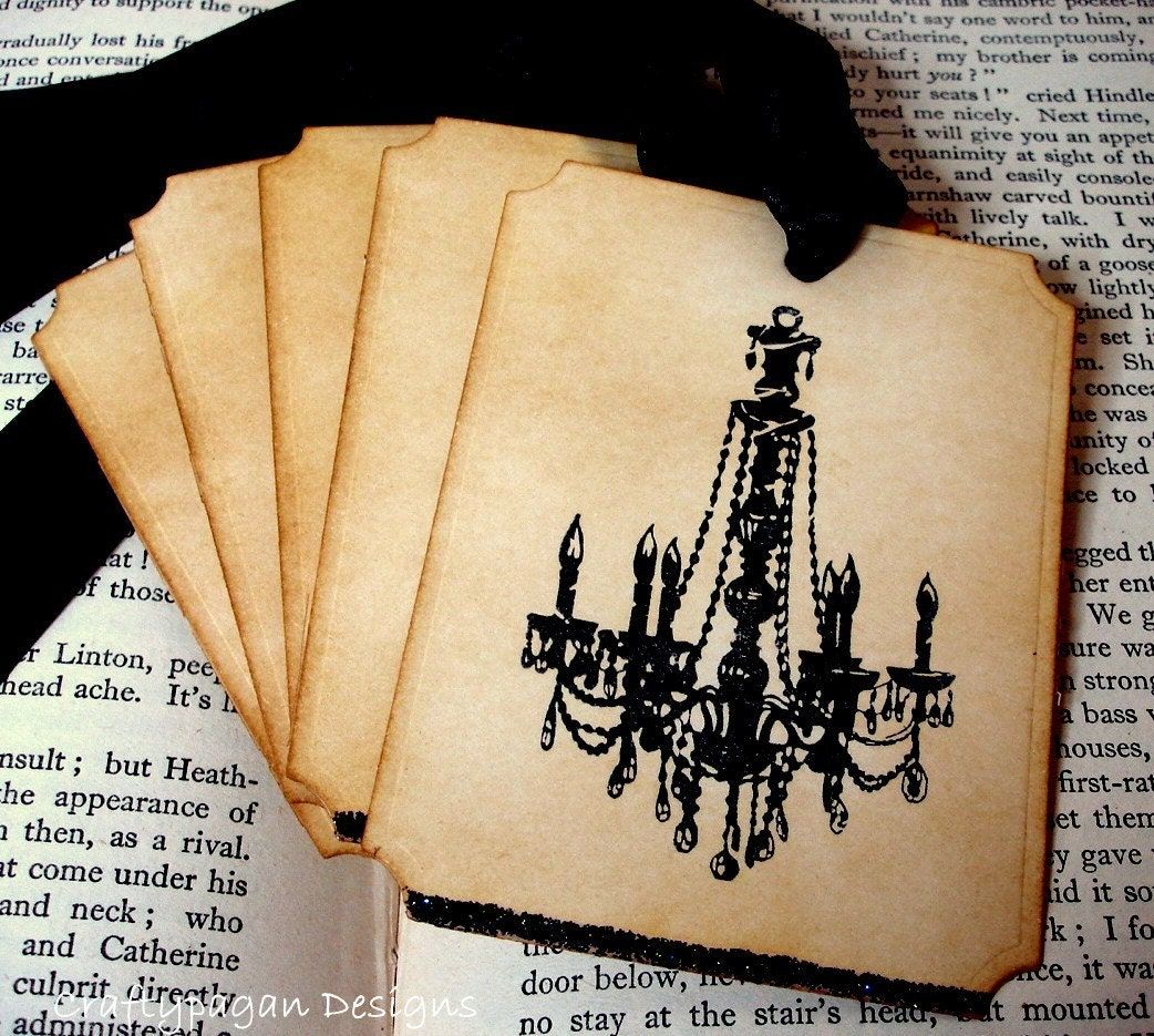 Gothic Chandelier Vintage Tags/Labels/Hang Tags with Black Glitter-SET of 6-Ribbon Choice Available