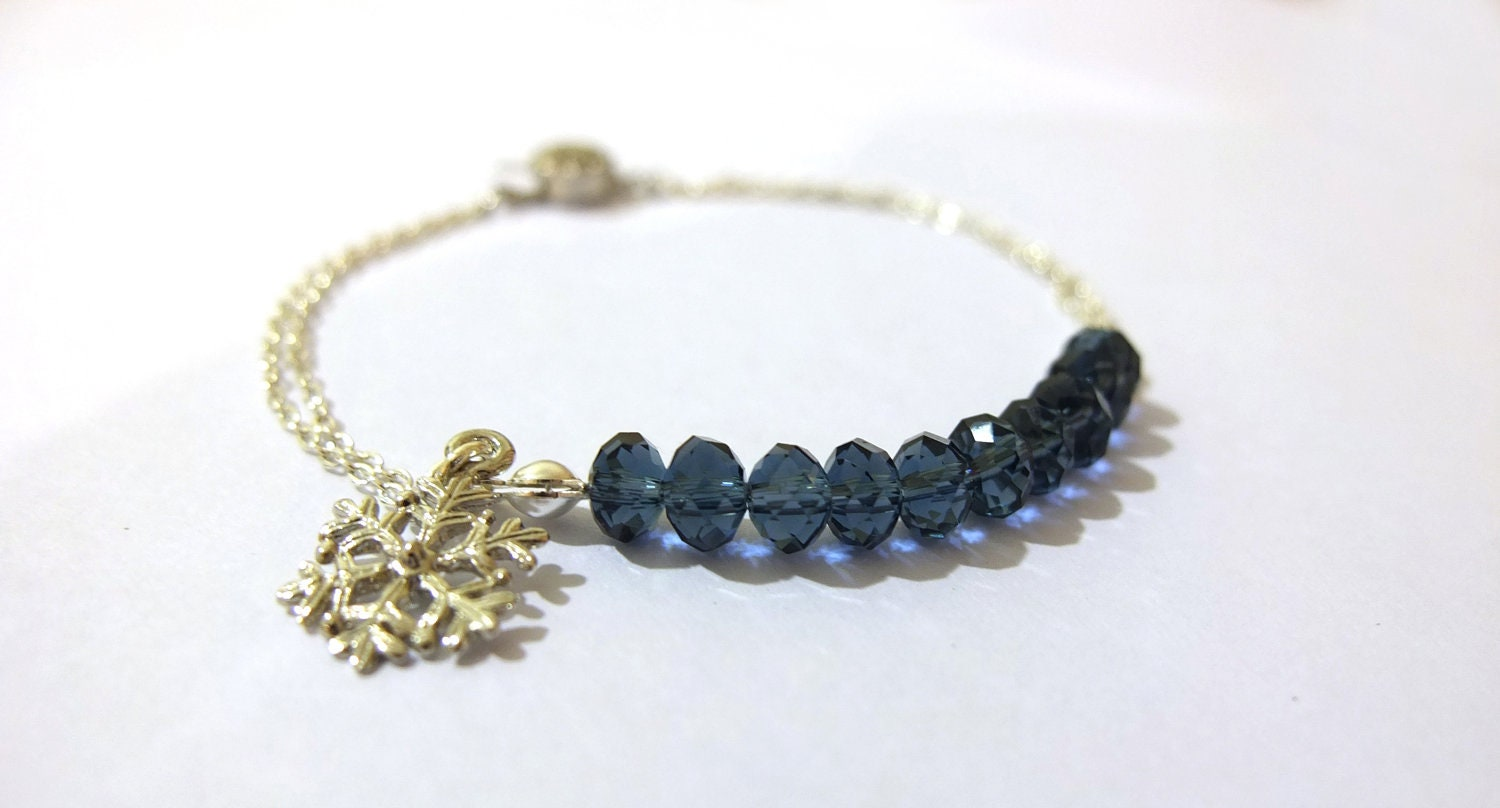 Snowflake Bracelet - Silver, Charm, Navy Blue, Fall, Winter, Xmas Gifts, Christmas gifts, Friendship Bracelet, Bridesmaid Bracelet