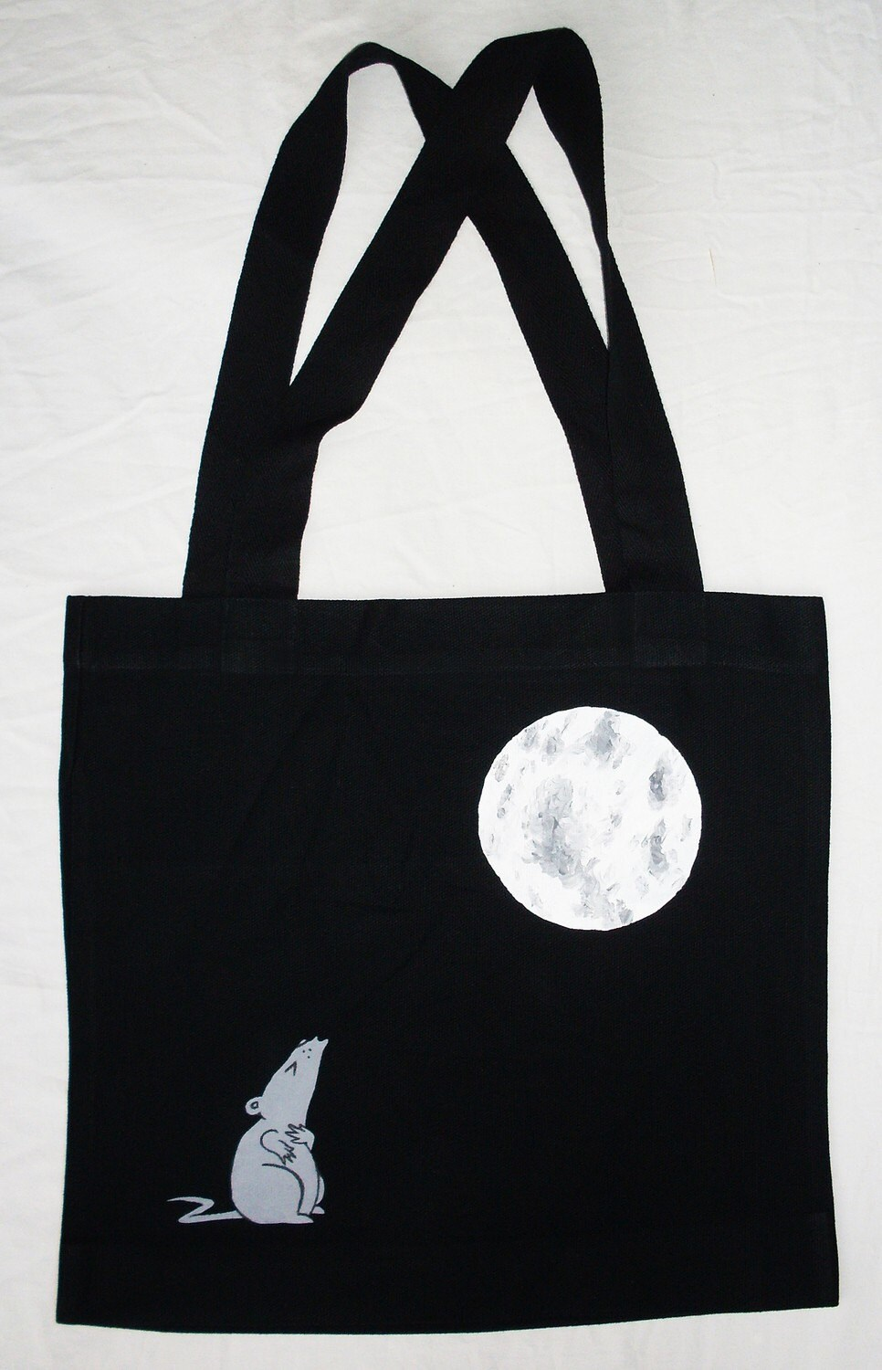 Lonely Mouse - HAND PAINTED Bag