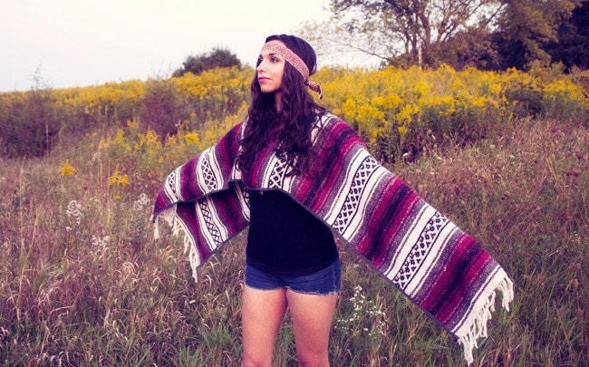 Mexican Blanket Poncho Vintage