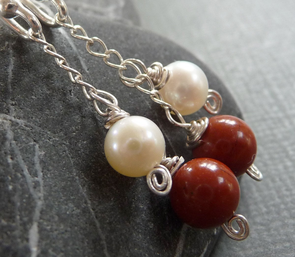 Fiery Red Sunset Pearl, Jasper, and Sterling Silver Earrings