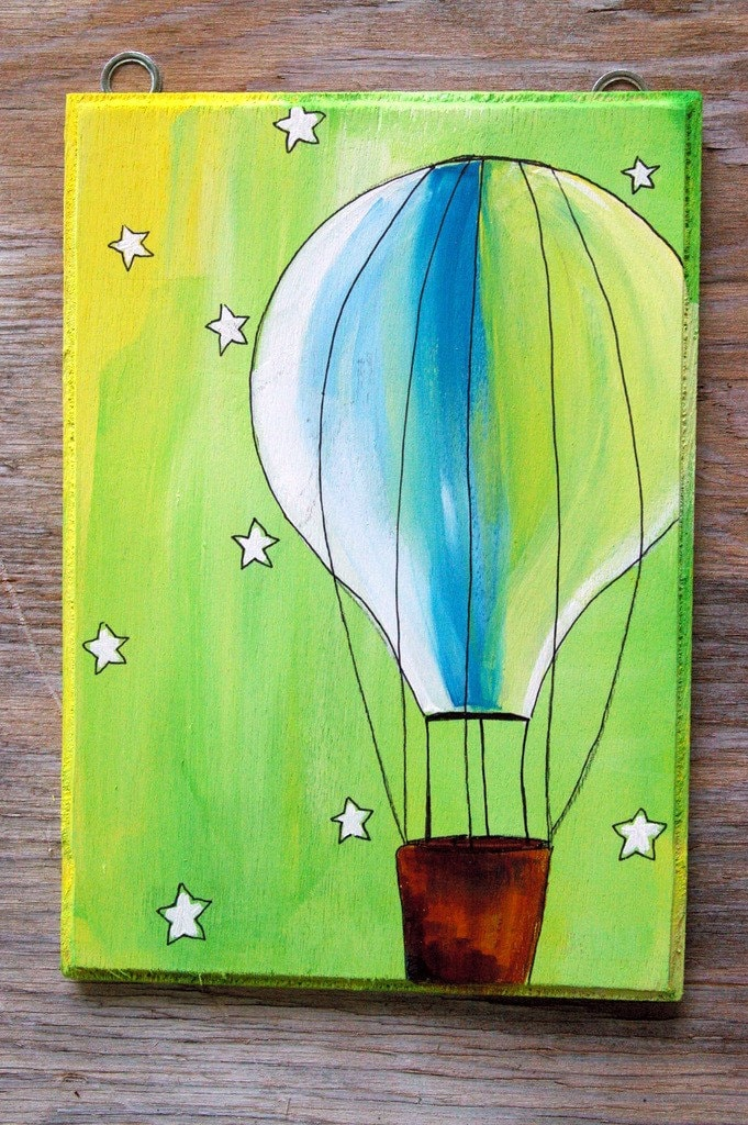 night flier--- The Circus is in town --- Hot air balloon in rainbow colors --- ORIGINAL acrylic painting