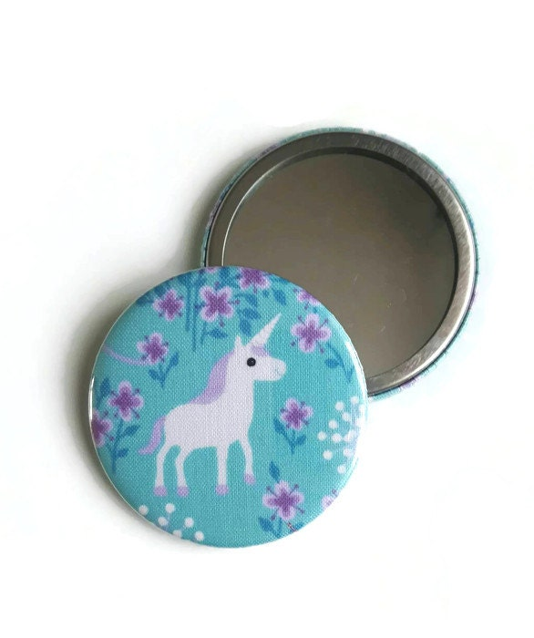 Unicorn pocket mirror Unicorn fabric cosmetic mirror Handbag mirror gift for girl party bag filler party favors Compact mirror