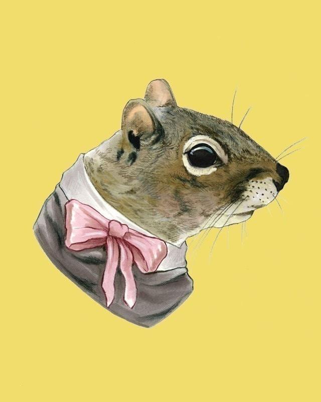 Squirrel lady print 8x10