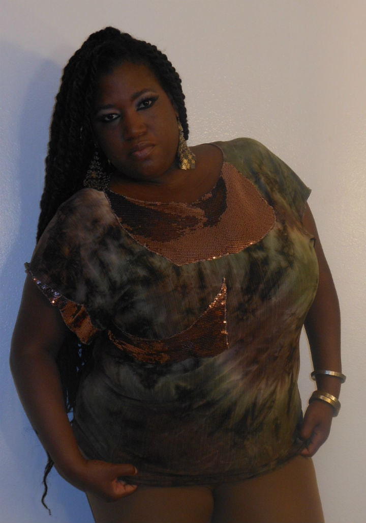 G.I. Jane - Posh N Petals Slinky Knit  Camoflauge Sequin  Embellished Blouse - XL  - 1X Plus Size