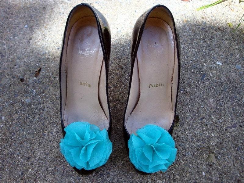 Teal Chiffon Shoe Clips