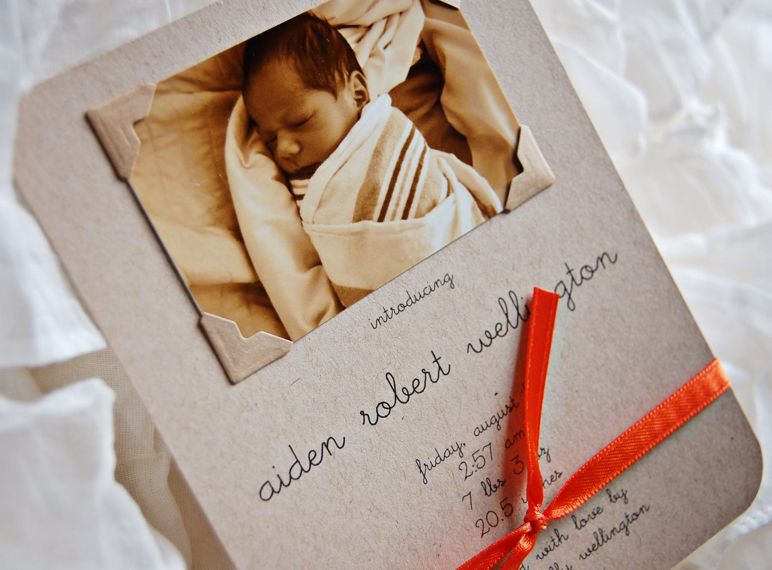 Baby Announcements (Boy) - printed on kraft card stock w/matching kraft envelopes (12)