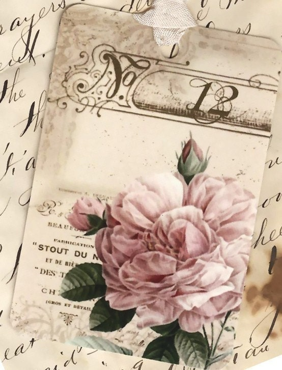 Vintage Look French Rose No. 12 gift tags