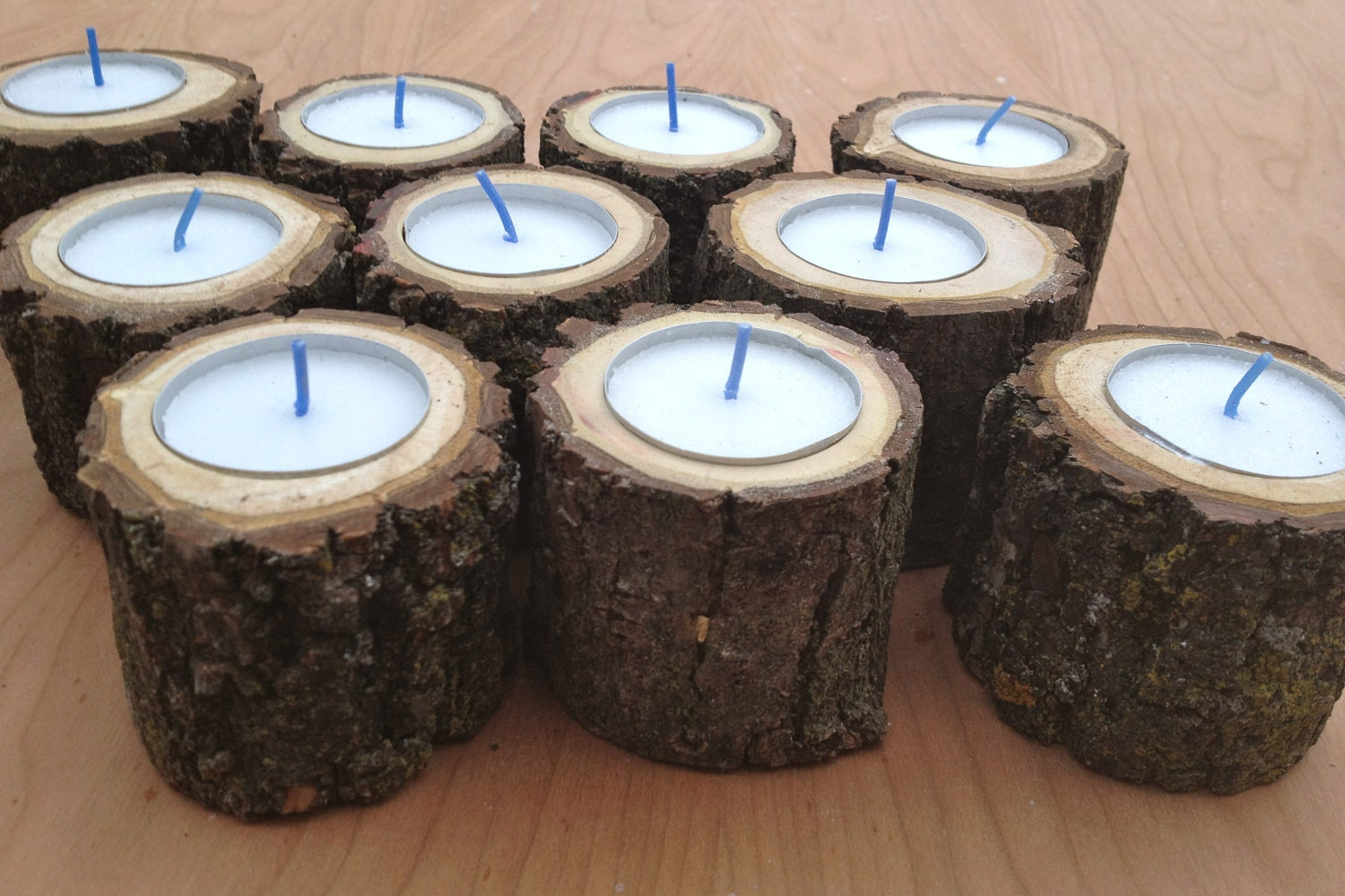 10 wood log tea light candle holders for by for Log candle holder how to make