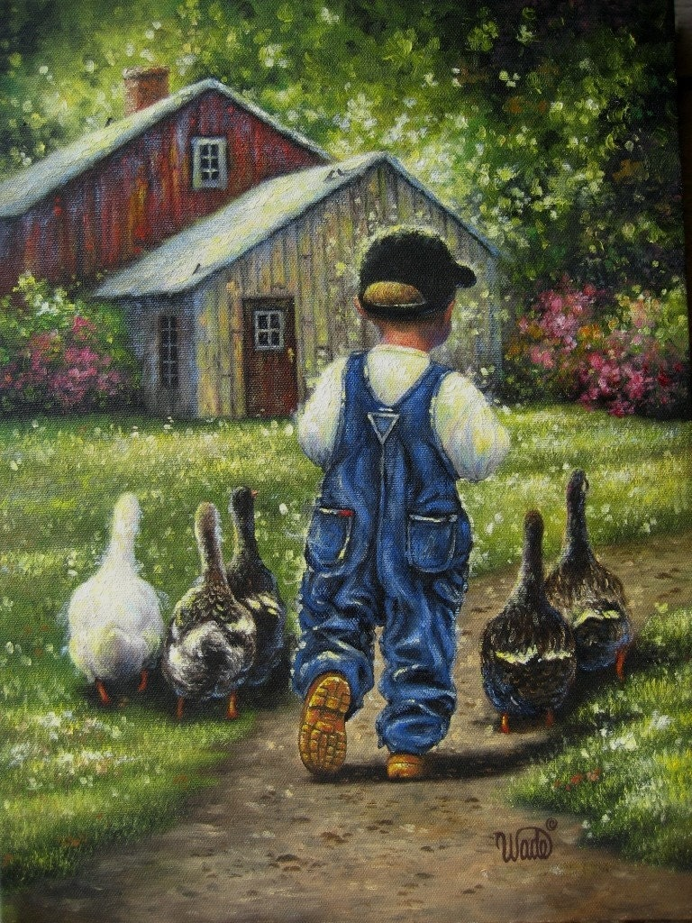 Little Boy Blue Print Vickie Wade Art Farm By