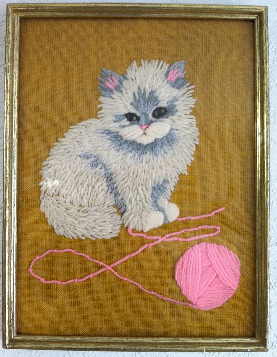 Adorable - Framed Kitten Stitched Wall hanging with Ball of Pink Yarn