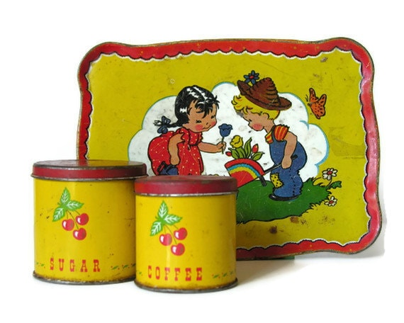 Toy Tin Litho Canisters with Cherries: Sugar, Coffee in Red and Yellow - veraviola