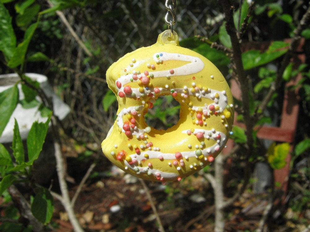SALE Yellow Donut with White frosting Swirls and by PinkFrog4U from etsy.com