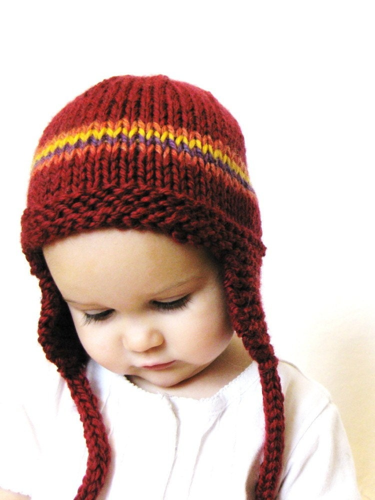 knit baby earflap hat or photo prop, newborn to 3 months - cranberry red with stripes, ready to ship