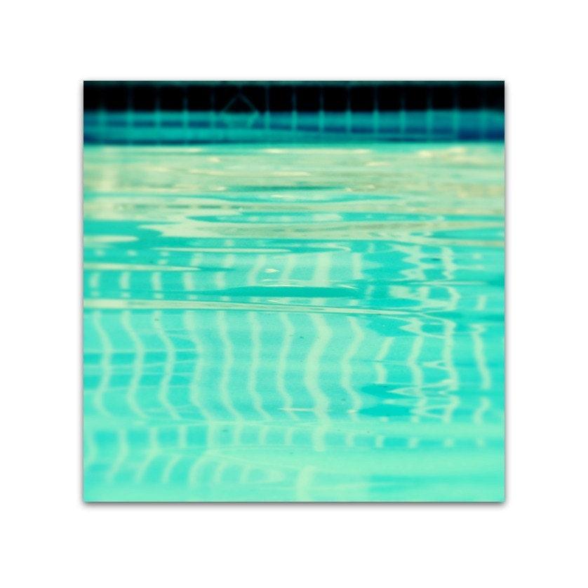 photography, art, pool, minimalist, retro, beach, ocean, teal, aqua, sky, turquoise, motel, vintage, water - summer swim, 8x8 photograph - SeptemberWren